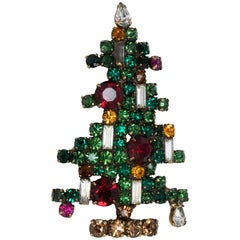 Vintage Weiss Geometrical Crystal Christmas Tree Pin in Green Red Yellow & White