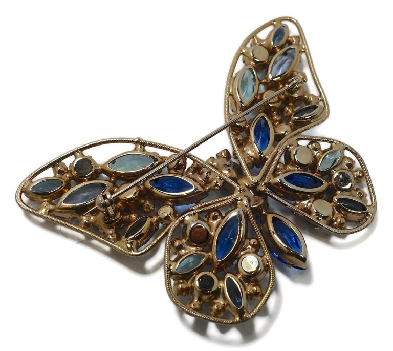 Women's or Men's Vintage Weiss? Multi-Color Crystal Butterfly Brooc For Sale