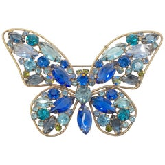 Vintage Weiss? Multi-Color Crystal Butterfly Brooc
