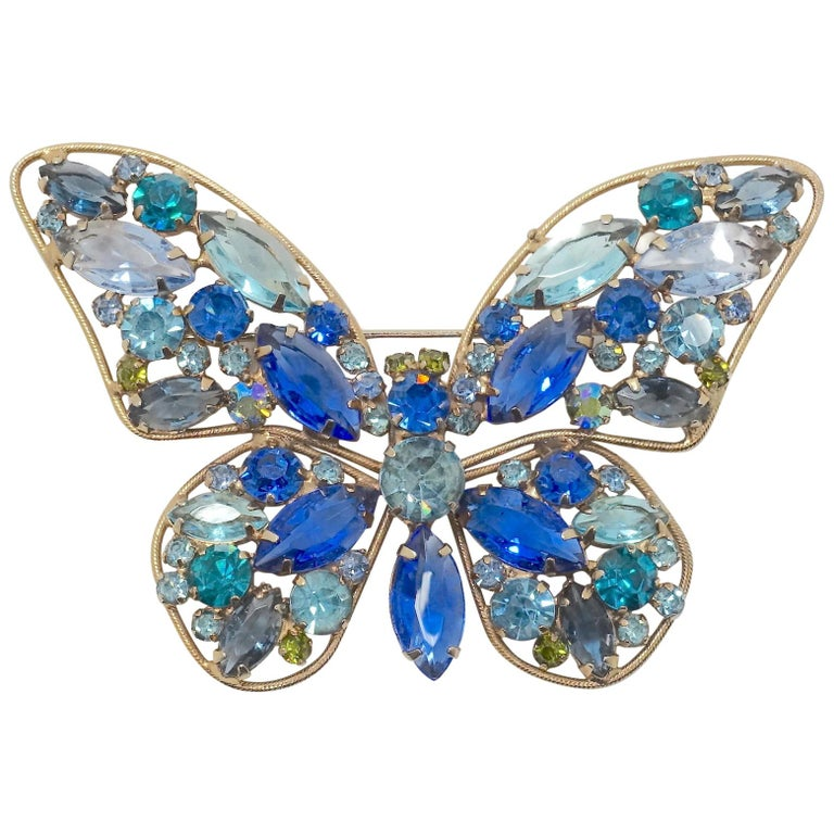Vintage Weiss? Multi-Color Crystal Butterfly Brooc For Sale
