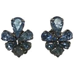 Vintage Weiss Pale Blue Stone Earrings 1950s