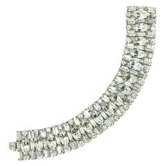 Vintage Weiss Silver & Crystal Cocktail Bracelet 1950s