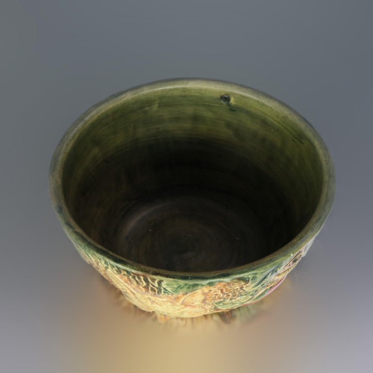 Vintage Weller Woodcraft Art Pottery Hanging Jardinière with Fox, circa 1930 In Good Condition For Sale In Big Flats, NY
