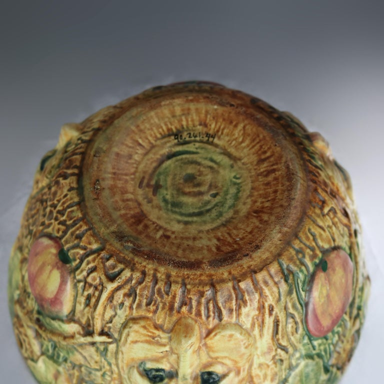 20th Century Vintage Weller Woodcraft Art Pottery Hanging Jardinière with Fox, circa 1930 For Sale