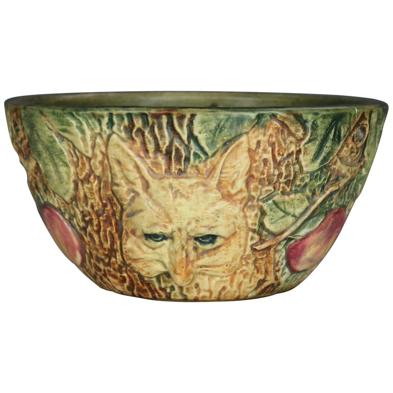 Vintage Weller Woodcraft Art Pottery Hanging Jardinière with Fox, circa 1930 For Sale