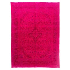 Vintage West Anatolian Rug, Overdyed in Fuschia Pink Color