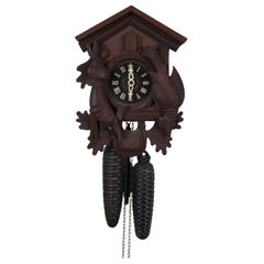Vintage West German Black Forest 8 Day Cuckoo Clock Hunters Quail Game Rifle