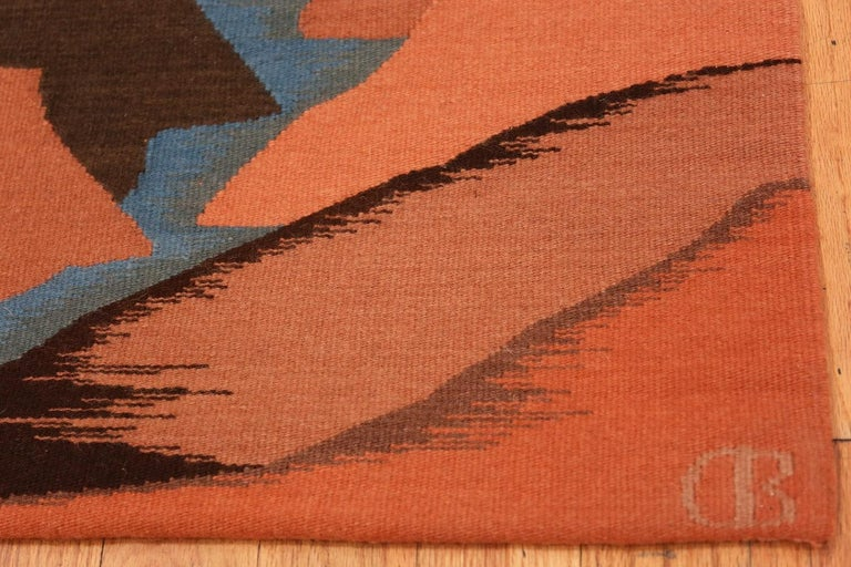 Vintage textile art / western tapestry by Christina Bergh, country of origin: United States of America, date circa mid-20th century.