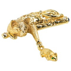 Whimsical Cat and Mouse Gold Brooch Pin Estate Fine Jewelry