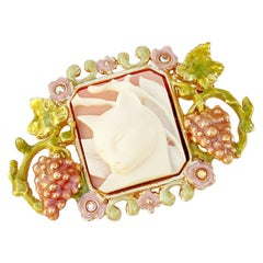 Vintage Whimsical Cat Cameo Brooch By Kirks Folly, 1980s
