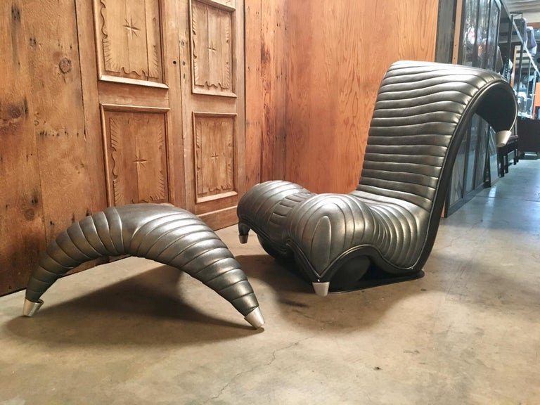 Vintage Whimsical Modern Chair and Ottoman For Sale 6