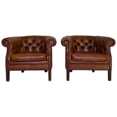 Vintage Whiskey Brown Chesterfield Leather Club Armchairs, Set of 2