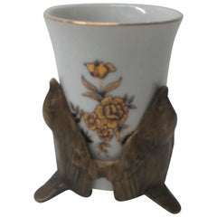 Vintage White and Gold Toothbrush Porcelain Cup with Brass Bird Stand