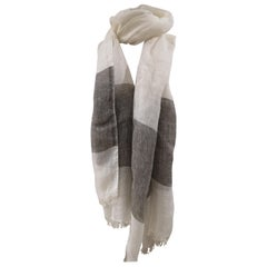 Vintage white and grey linen scarf - foulard