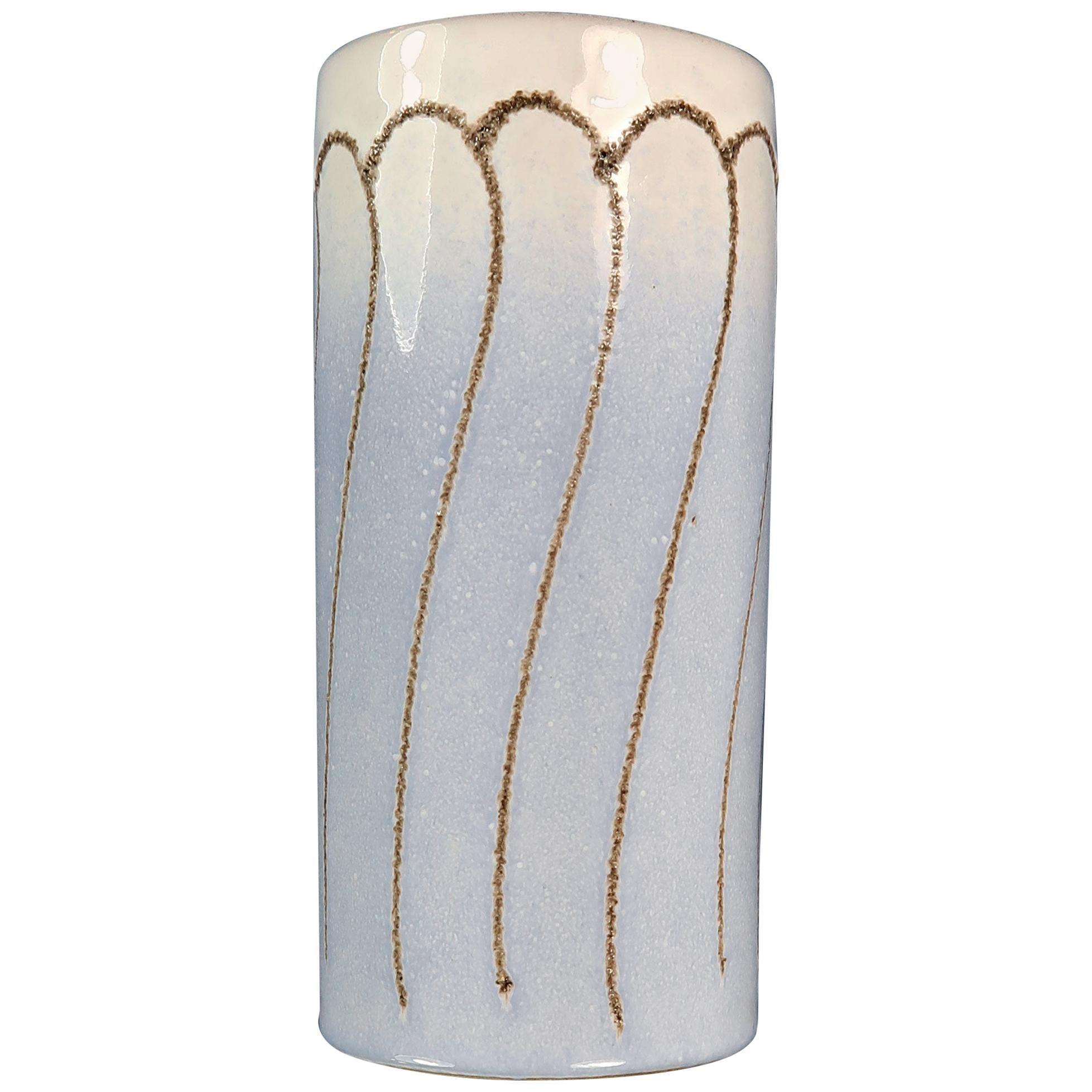 Vintage White and Light Blue East German Ceramic Vase by Strehla, 1960s