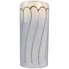 Vintage White and Light Blue East German Ceramic Vase by Strehla, 1960s