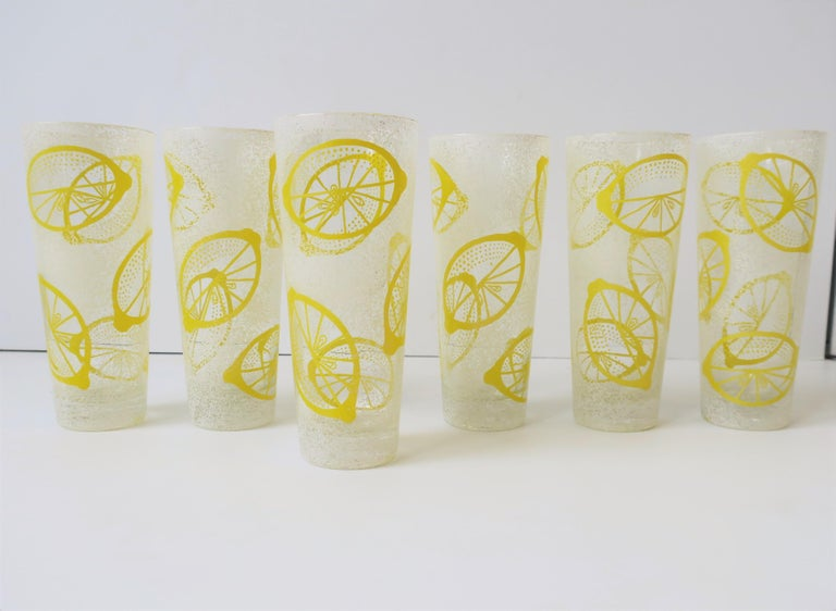 White and Yellow Lemon Highball Cocktail or Beverage Glasses For Sale 1
