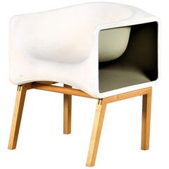 Vintage White Armchair Fiberglass and Wood by Felice Rossi, 1970s