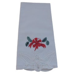 Vintage White, Blue and Red Guest Bathroom Napkin Embroidered Cotton