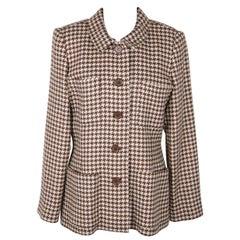 VINTAGE White & Brown HOUNDSTOOTH Pattern JACKET Blazer