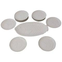 Vintage White Ceramic 'Fish' Plateware