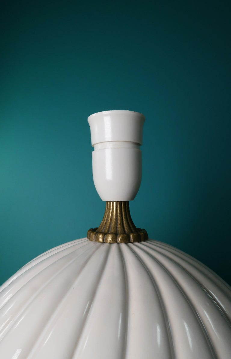 Vintage White Ceramic, Brass Round Table Lamp Style of Tommaso Barbi For Sale 2