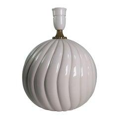 Vintage White Ceramic, Brass Round Table Lamp Style of Tommaso Barbi