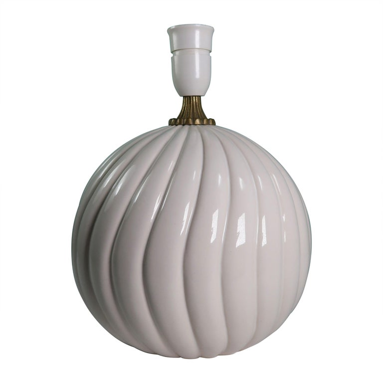 Vintage White Ceramic, Brass Round Table Lamp Style of Tommaso Barbi For Sale