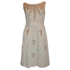Vintage White Cocktail Dress with Bead Detail