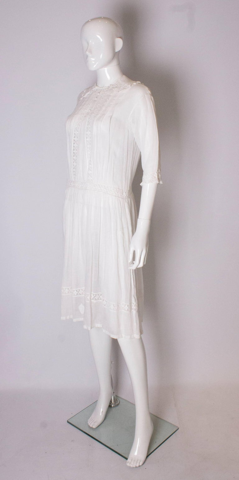Gray A Vintage edwardian lawn cotton dress with delicate embroidered flowers  For Sale