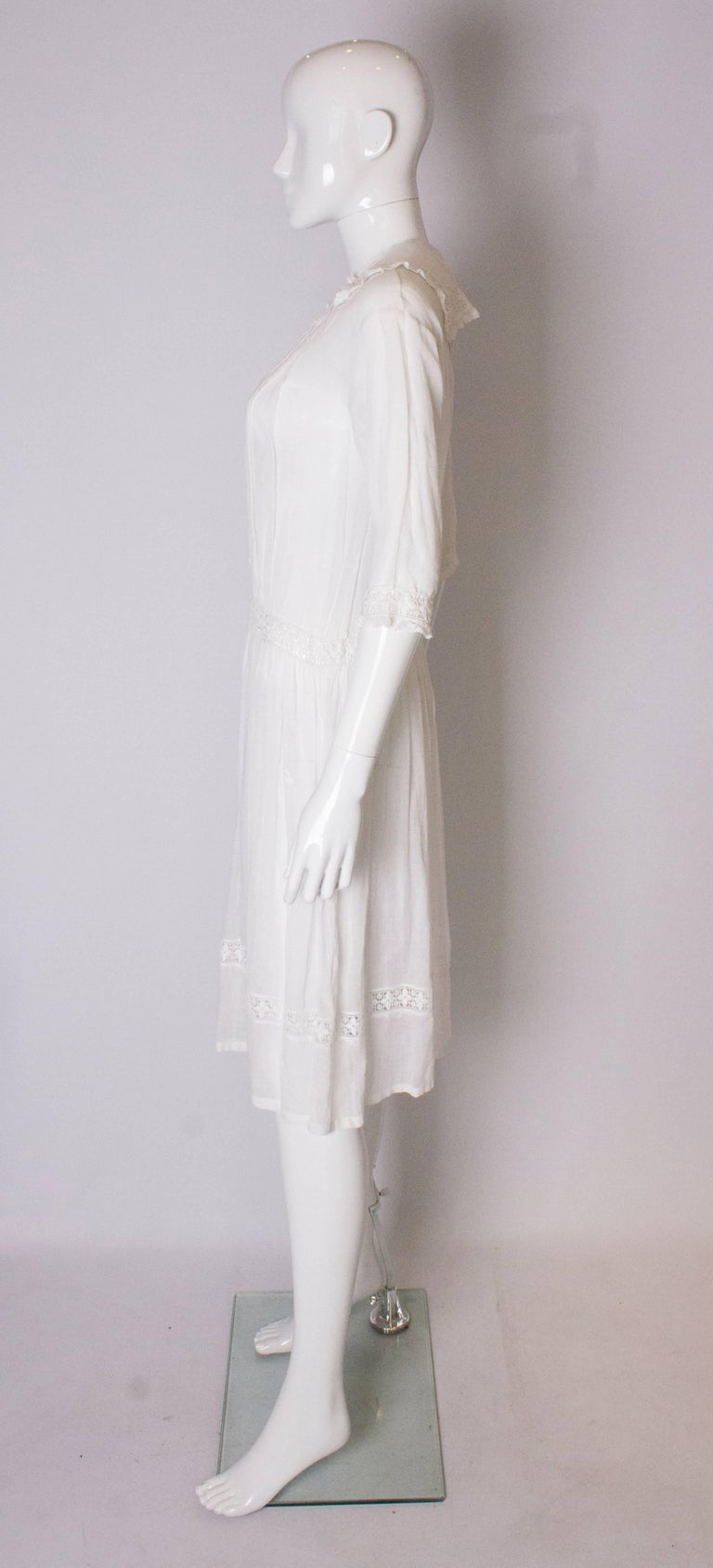 Women's A Vintage edwardian lawn cotton dress with delicate embroidered flowers  For Sale