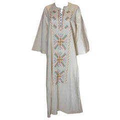 Vintage White Cotton Dress with Colourful Embroidery
