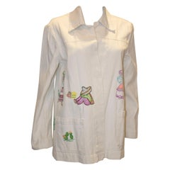 Vintage White Cotton Jacket with Embroidery Detail