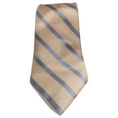 Vintage white cream light blue silk tie