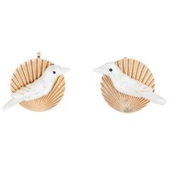 Vintage White Dove Earrings MOP Round Clip 14 Karat Gold Estate Fine Jewelry