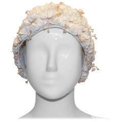 Vintage White Flower Cloche Hat
