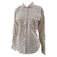 Vintage white flowers cotton shirt