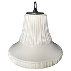 Vintage White Fluted Lily Porcelain Pendant