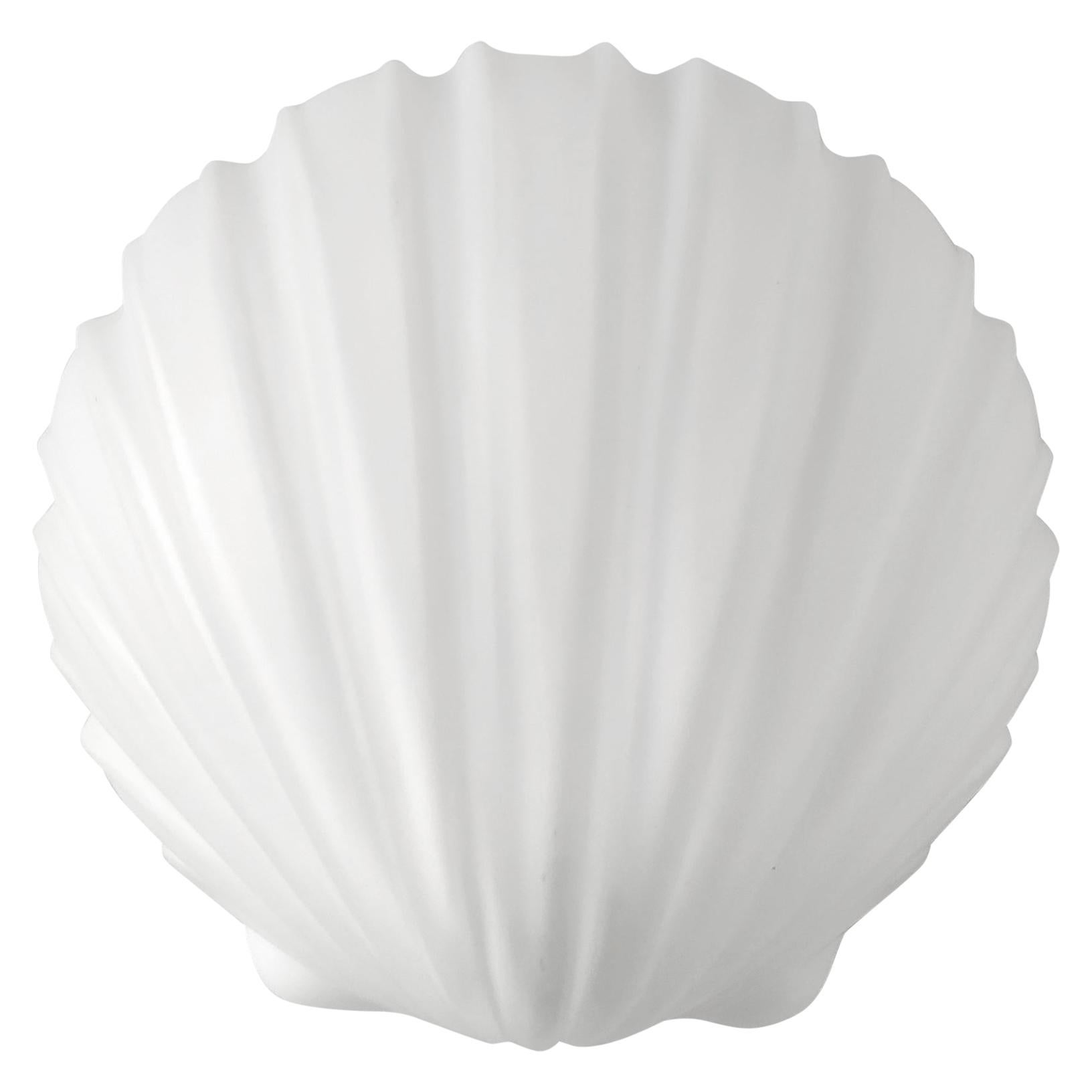 One of... Vintage White Glass Shell Wall Light Fixture Flushmount, 1960s