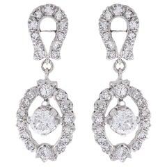 Vintage White Gold 1.62 Carat Round Diamond Dangle Earrings
