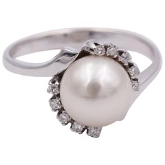 Vintage White Gold and Round Cut Diamond Ring, 1960s