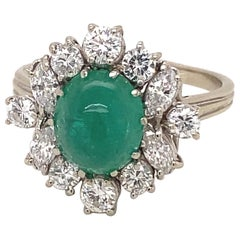 Vintage White Gold French Cabochon 3.5 Carat Emerald Diamonds Ring