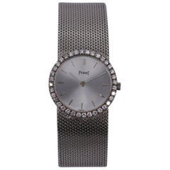 Vintage White Gold Piaget with Mesh Band Silver Dial and Diamond Bezel