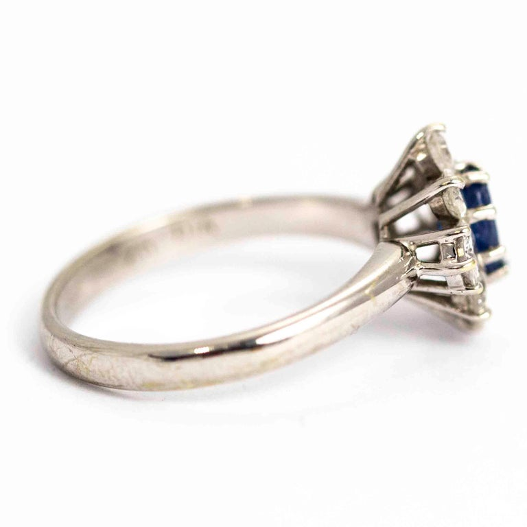 Women's or Men's Vintage White Gold Sapphire and Diamond Cluster Ring For Sale