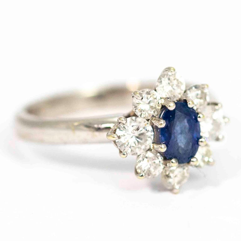 Vintage White Gold Sapphire and Diamond Cluster Ring For Sale 1