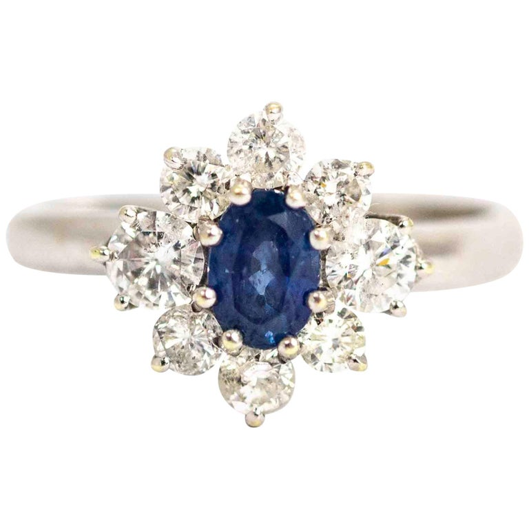 Vintage White Gold Sapphire and Diamond Cluster Ring For Sale