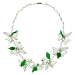 Vintage White & Green Glass Bird Necklace 1980s