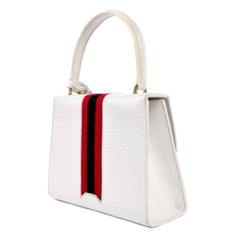 683091dbb33 Gray Vintage White Gucci Handbag Satchel in Leather With Stripes   Key Lock  For Sale