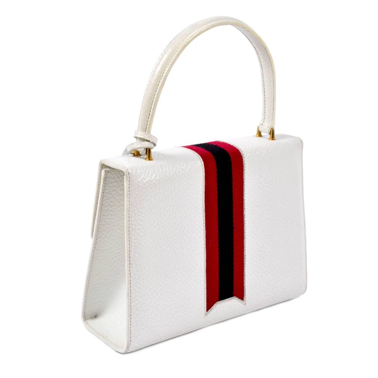 3989fcd2d99 Vintage White Gucci Handbag Satchel in Leather With Stripes   Key Lock For  Sale 3