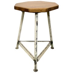 Vintage White Industrial Factory Stool, 1960s